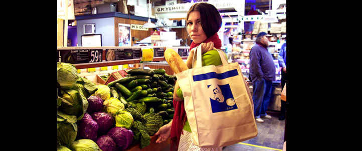 do good things stylishly with this designer reusable grocery tote by skn