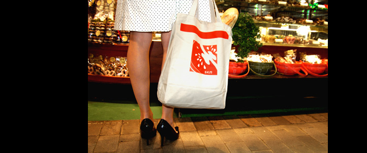 SKN tote bags help reduce waste created by disposable plastic bags.