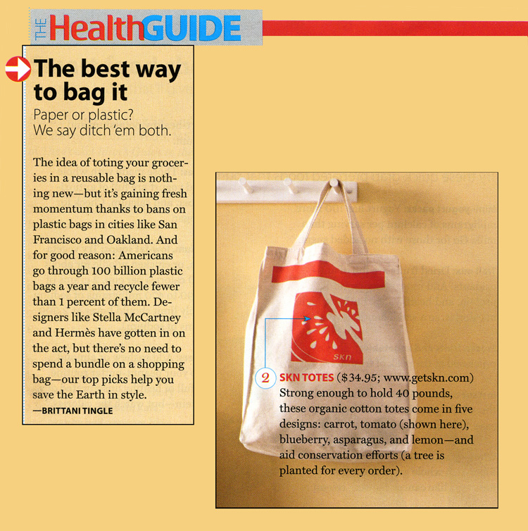 The Health Guide. The best way to bag it. Paper or Plastic? We say ditch'em both. The idea of toting your groceries in a reusable bag is nothing new - but it's gaining fresh momentum thanks to bans on 